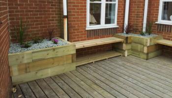 decking, wooden decking, garden